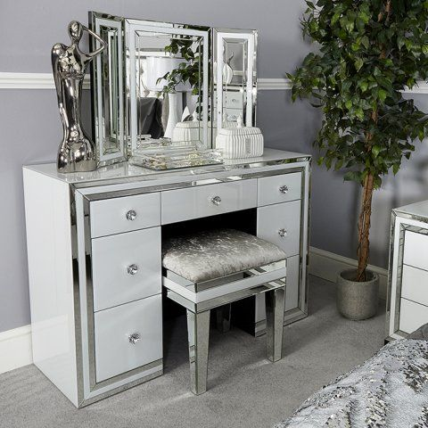 Mirrored Dressing Table dubai white mirrored dressing table TDWXMWH