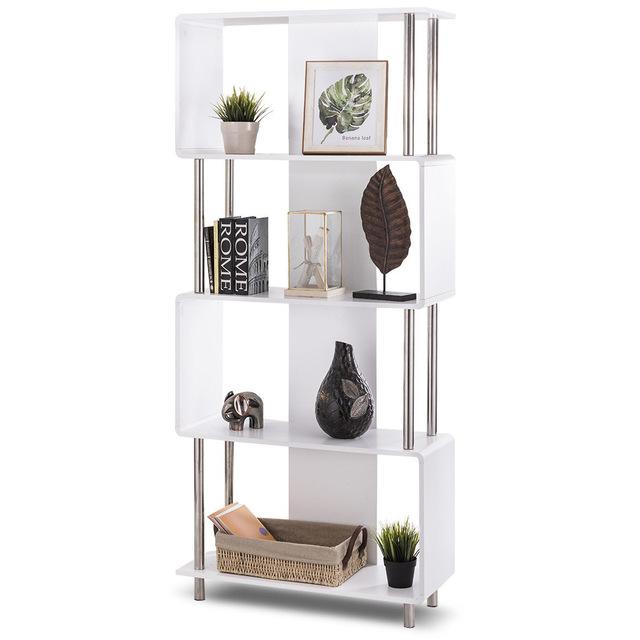 Modern Bookshelf giantex industrial style 4 shelf modern bookcase living room storage  display unit FQQAXUX