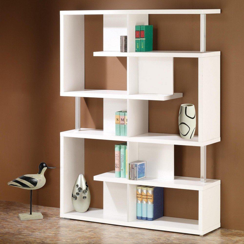 Modern Bookshelf image is loading coaster-bookshelf-modern-white-finish-home-office-bookcase- CNTLAOQ