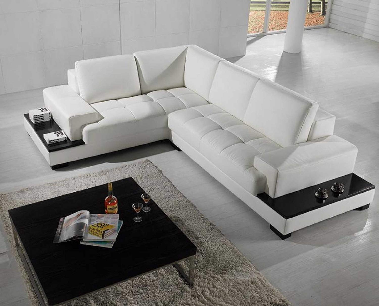 Modern Sectional Sofas amazon.com: vig furniture t71 modern leather sectional: kitchen u0026 dining EXYHEIN