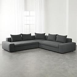 Modern Sectional Sofas arlo 3-piece iron grey wide arm sectional sofa LXWZIPY