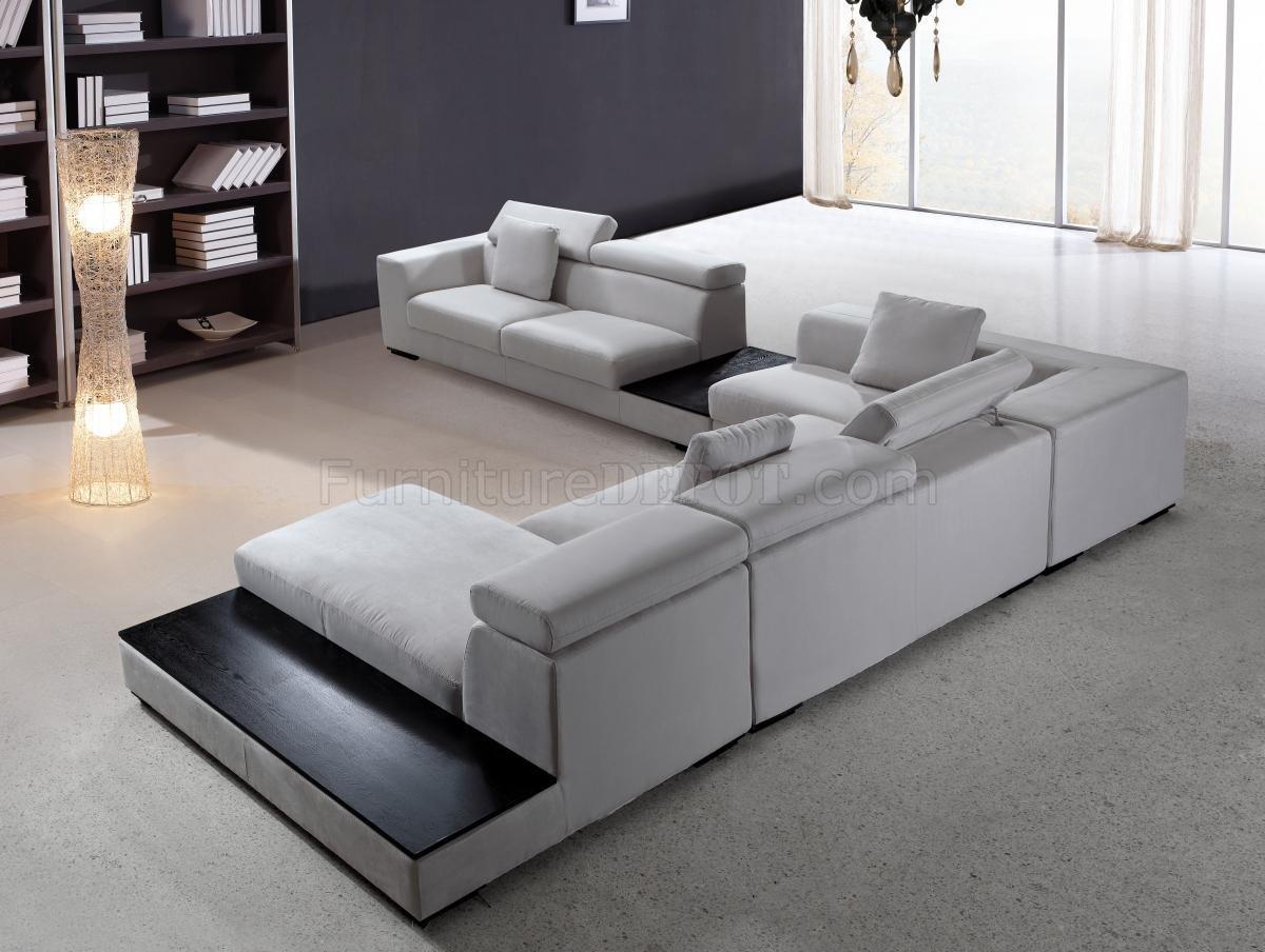 Modern Sectional Sofas grey microfiber modern sectional sofa w/adjustable headrests KGMTNTM