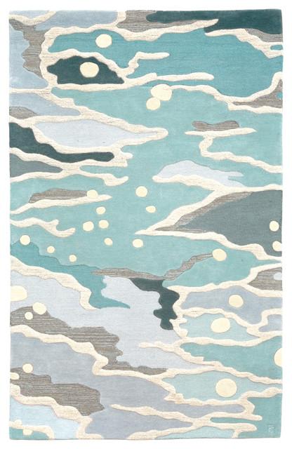 ocean, hand-tufted wool rug modern-living-room LVSHPBX