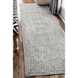 oliver u0026 james rowan handmade grey braided runner rug ... WZBPGTM