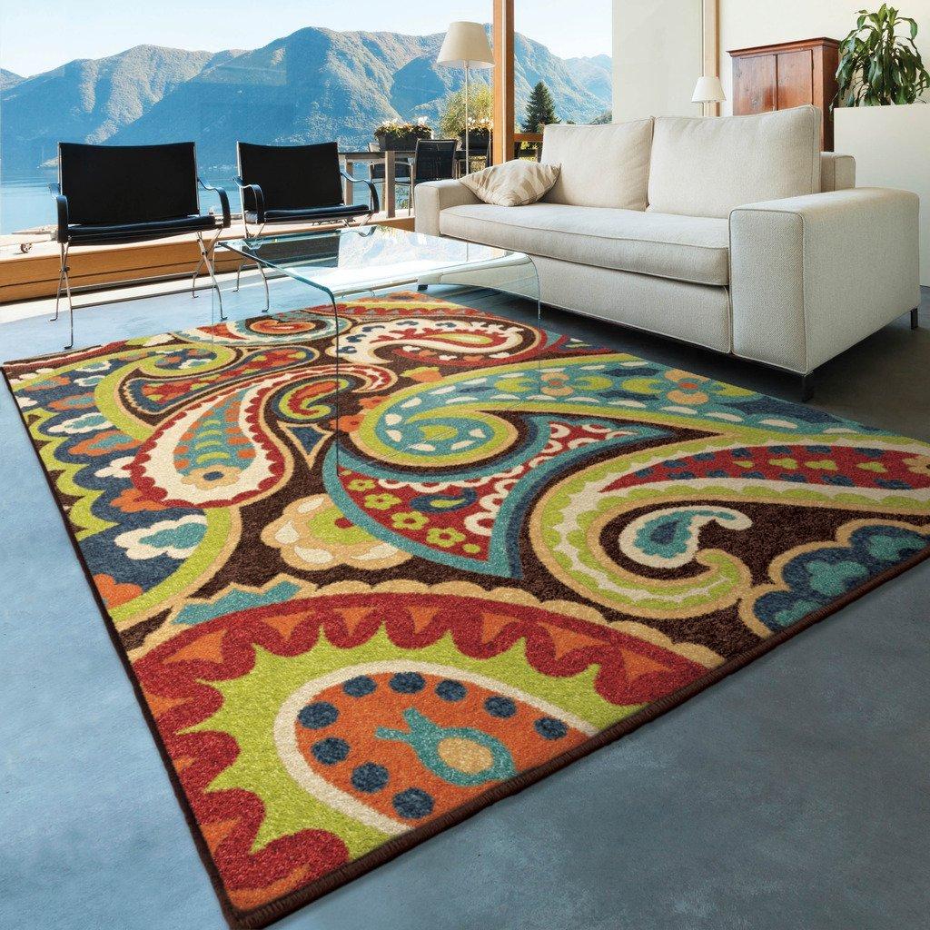 outdoor area rugs amazon.com: orian rugs indoor/outdoor paisley monteray multi area rug (5u00272 JWAZYVK