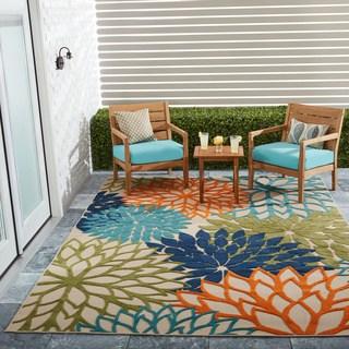 Outdoor rug nourison aloha floral multicolor indoor/outdoor rug - 7u002710 WVIAWHU