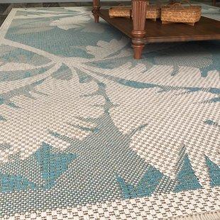 Outdoor rug odilia coastal flora ivory/turquoise indoor/outdoor area rug ZPYIYFR