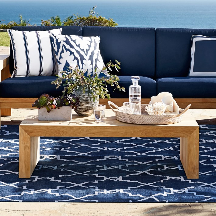 outdoor rug under patio table moroccan gate indoor/outdoor rug, navy | williams sonoma UPSIWWN