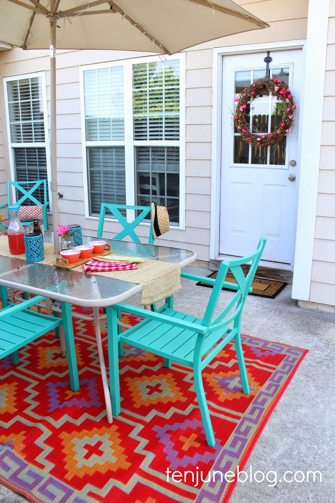 outdoor rug under patio table ten june: colorful outdoor patio makeover reveal // lulu u0026 georgia tangiers VGDPMEP