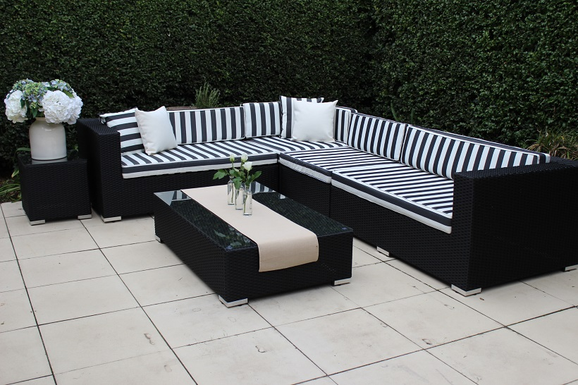 Outdoor Settings gartemoebe modular outdoor wicker furniture -l shaped black wicker with  black and SFQJIZY