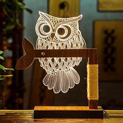 Owl Lamp owl lamp 3d night lights owl decor illusion lamps, night lamps led optical KMELUWA