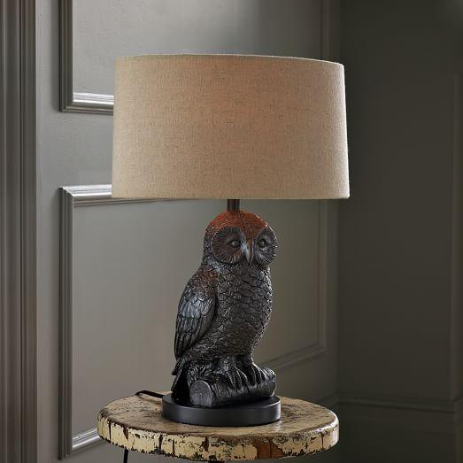 Owl Lamp owl table lamp - gunmetal/natural ZEYMRKT