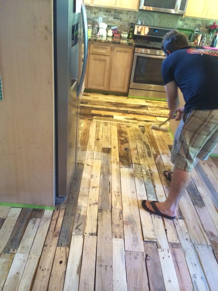 pallet wood floor the resin getting applied. wood floorpallet ... CNKVEKI