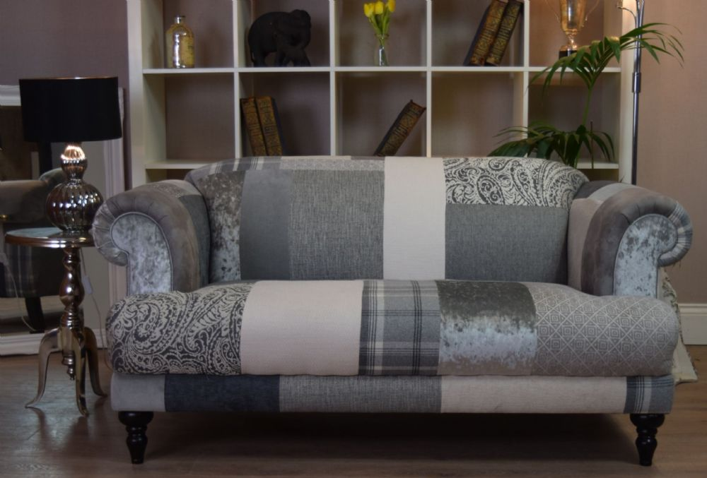 Patchwork Sofa aspen 2 seater sofa - patchwork natural grey silver - out of stock ZNZUYLI