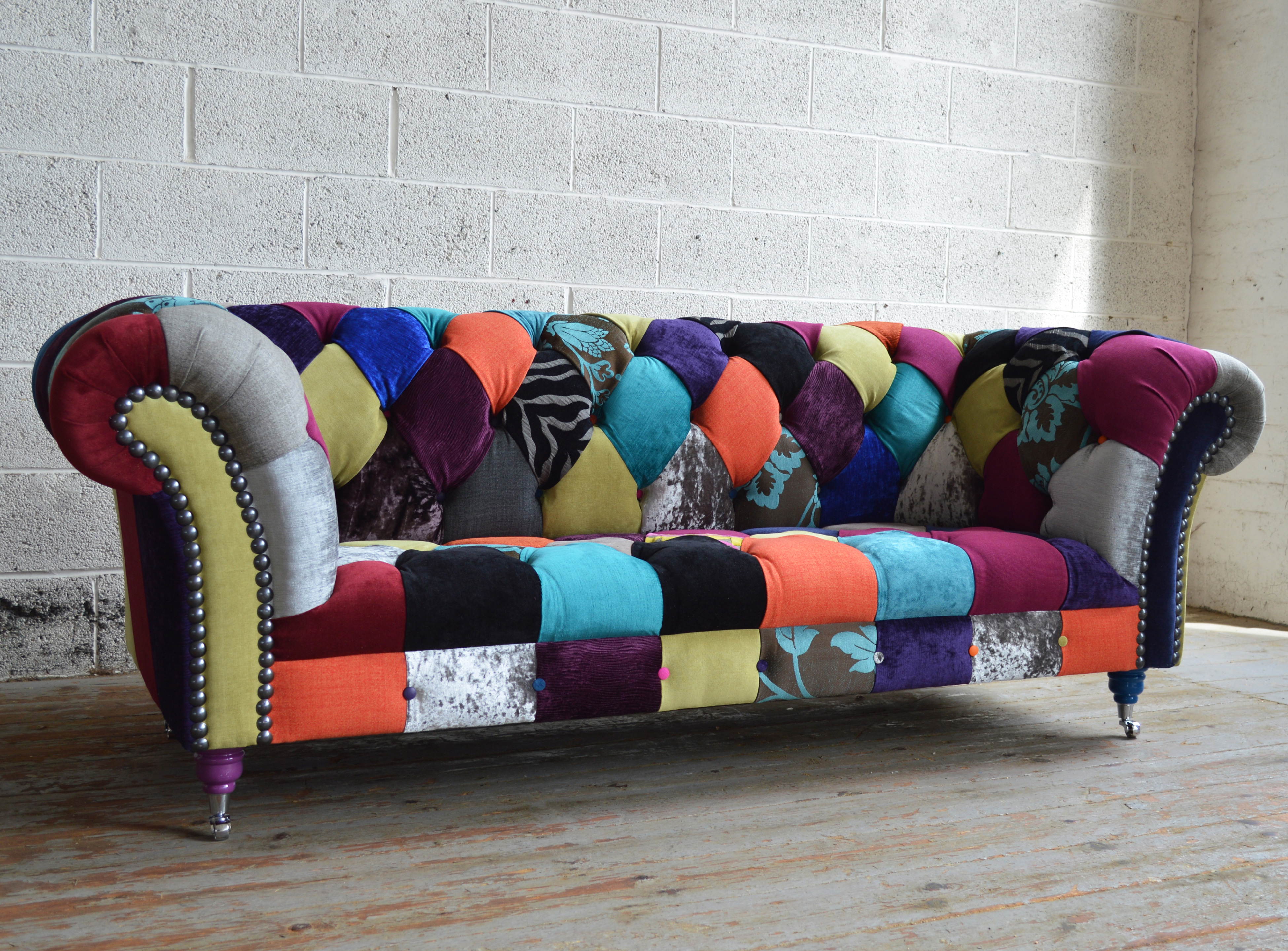 Patchwork Sofa multicoloured walton patchwork chesterfield sofa OPWSLDY