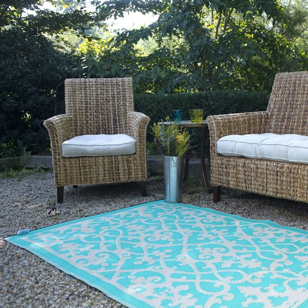 Patio rugs cream, turquoise, plastic outdoor rug, patio rug, indoor outdoor rug -  homeinfatuation.com. MVZKCIF