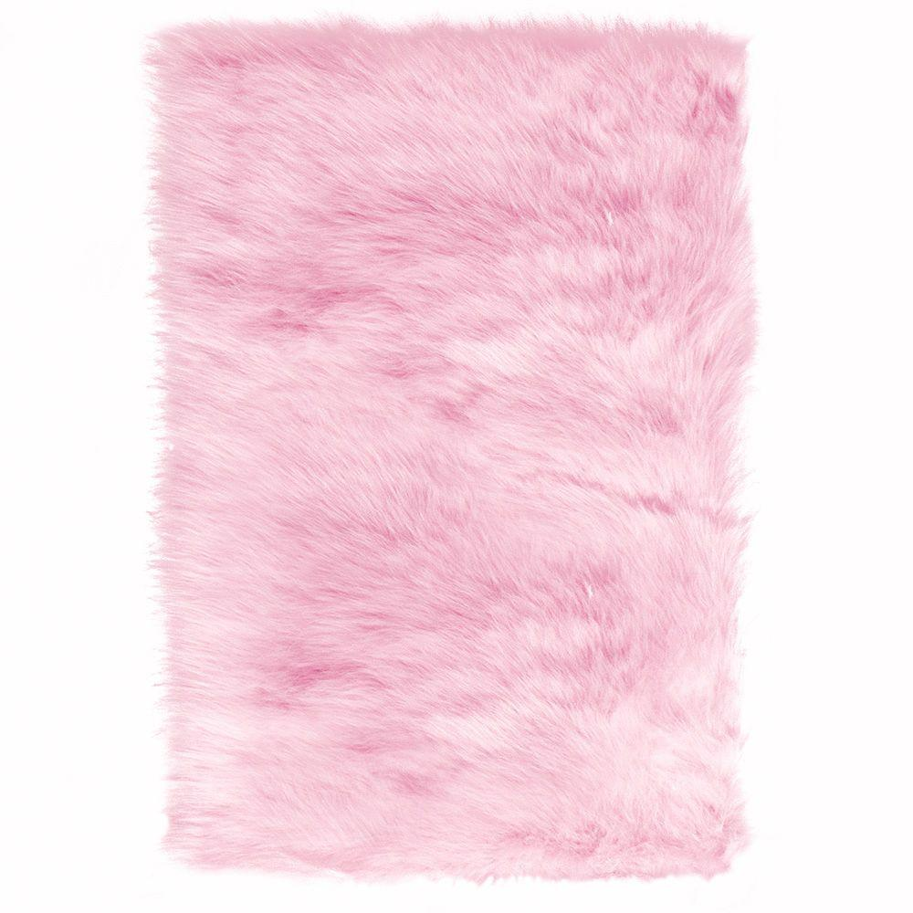 pink rug home decorators collection faux sheepskin pink 3 ft. x 5 ft. area rug INGMQUV