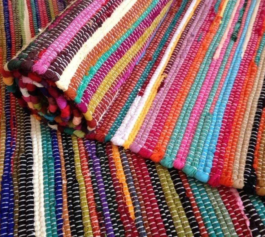 rag rugs fair trade loom recycled rag rug chindi shabby chic woven striped mat KFKIMBY