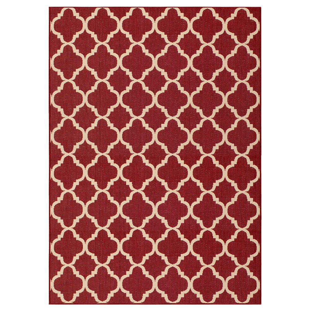 Red rugs hampton bay trellis red reversible 5 ft. x 7 ft. indoor/outdoor area ZPXBJJK
