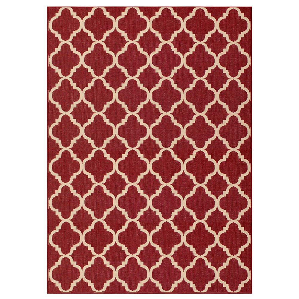 Red rugs hampton bay trellis red reversible 5 ft. x 7 ft. indoor/outdoor area ZPXBJJK