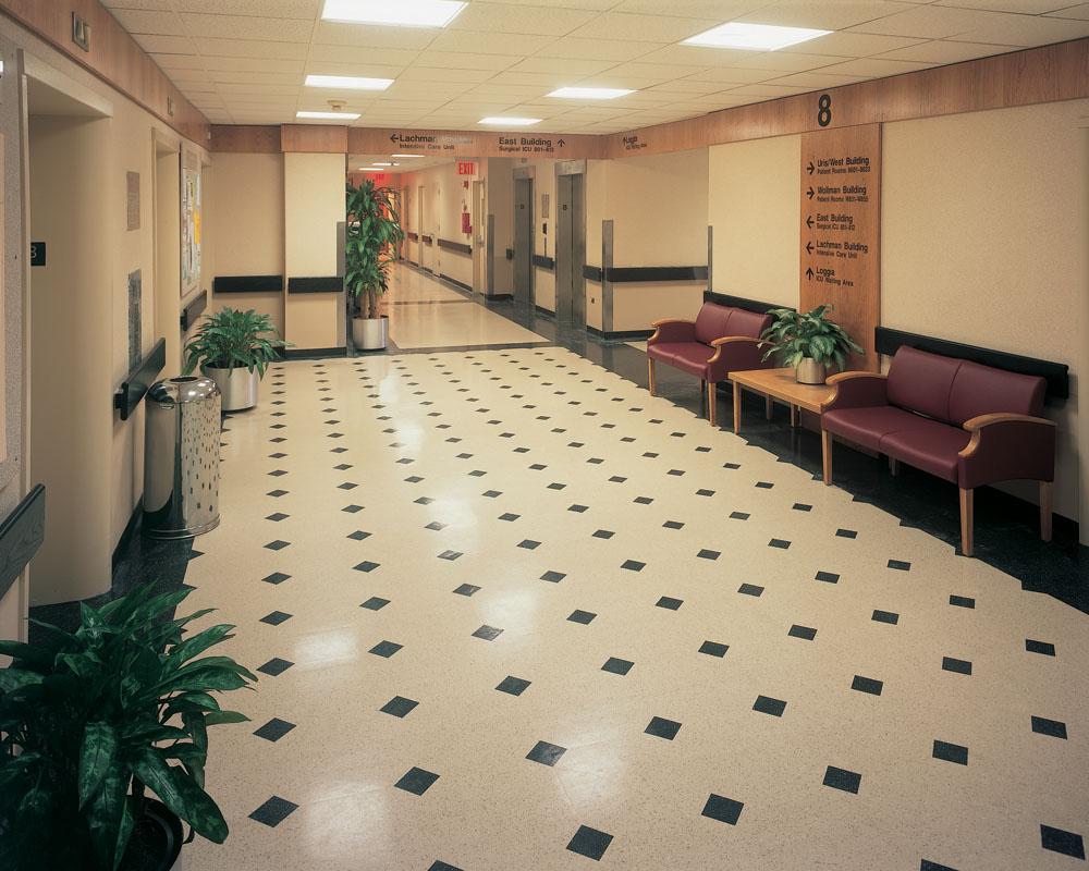 resilient flooring hospital elevator corridor TLAJKWF