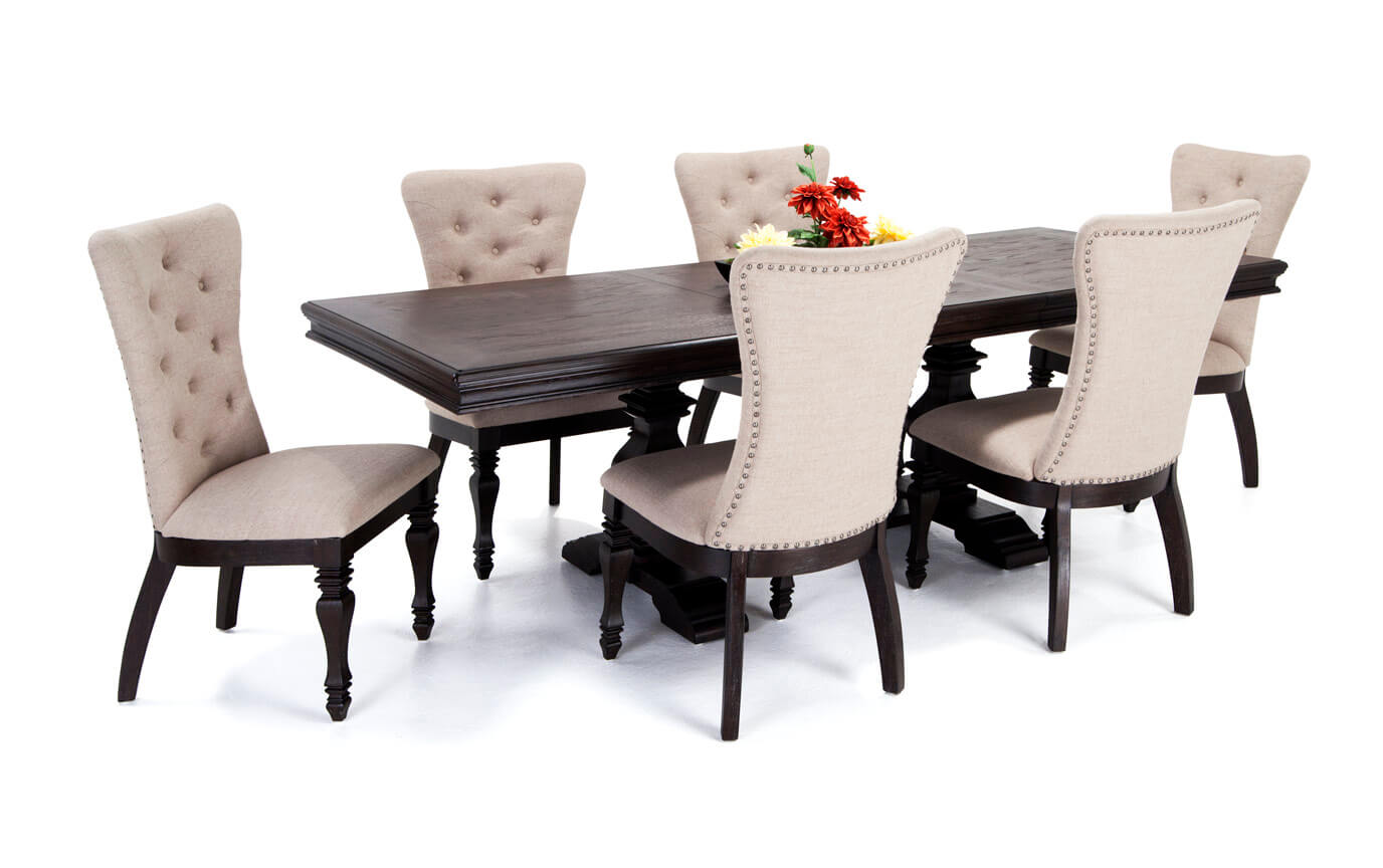 riverdale 7 piece dining set with upholstered chairs JVCJRFK
