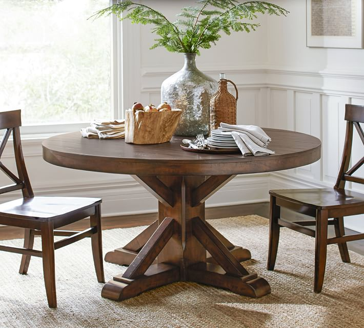 Round Pedestal Dining Table benchwright pedestal dining table | pottery barn CHKTLYU