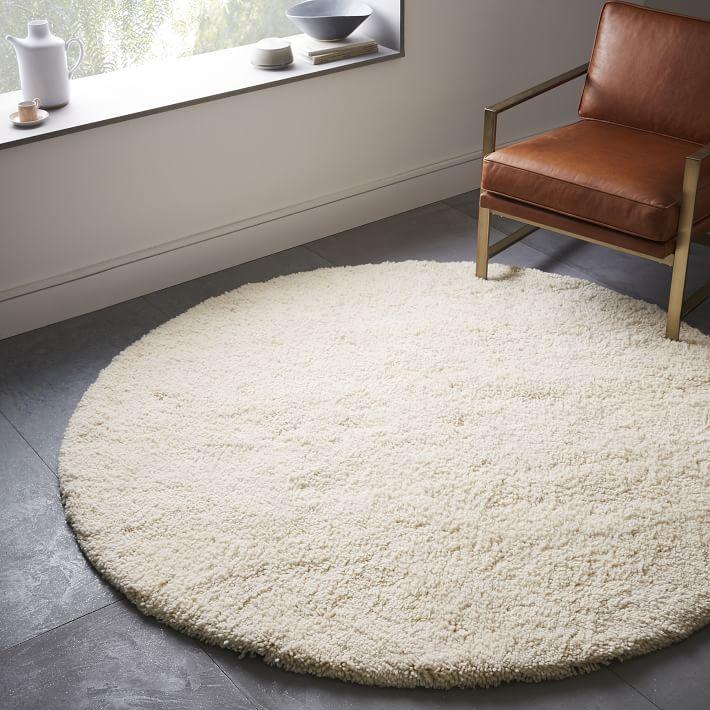round rugs darby wool shag rug - round | west elm RNFLTYJ