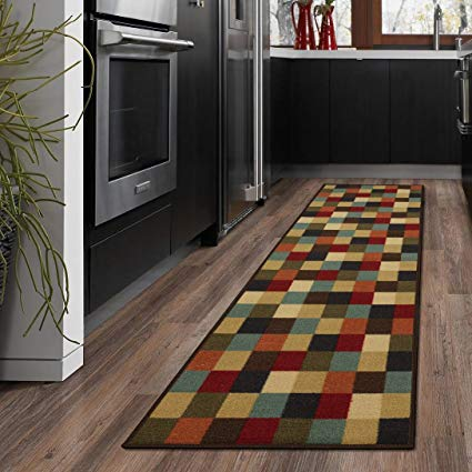 runner rug ottomanson ottohome collection contemporary checkered design modern runner  rug non-skid rubber backing PVFQCWK
