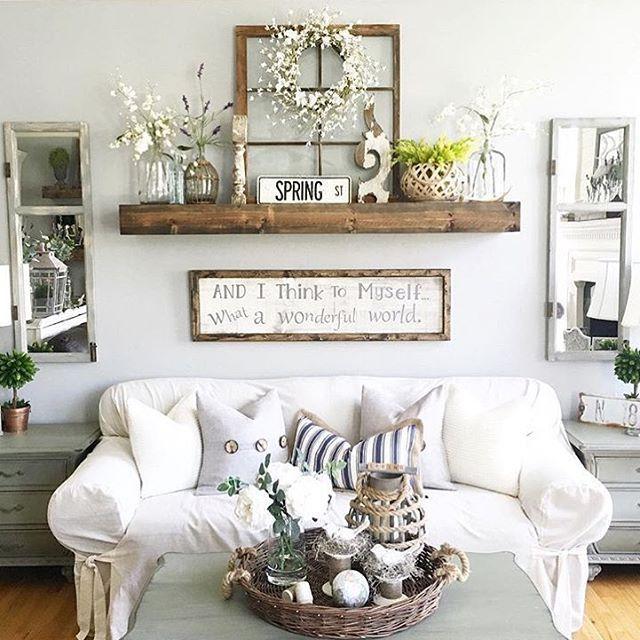 rustic wall decor idea featuring reclaimed window frames AAJHIEG