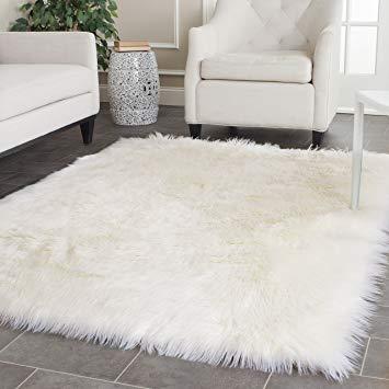 shag rugs amazon.com: safavieh faux silky sheepskin fss235a ivory area shag rug (4u0027 x ISQYZDT