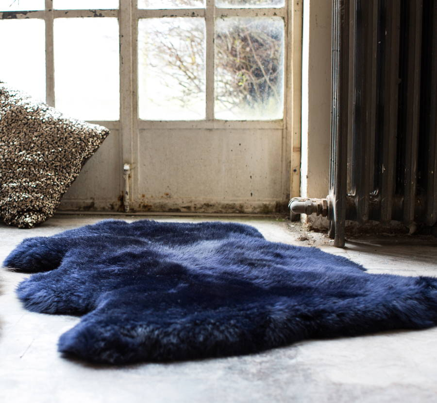 Sheepkin rugs luxurious midnight blue sheepskin rug WHCJCAL