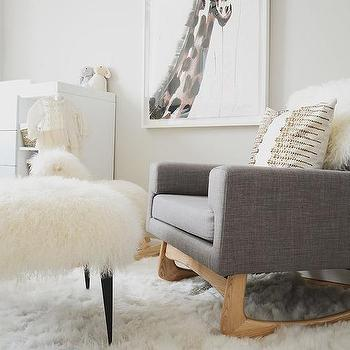 sheepskin rug ideas gray linen nursery rocker with sheepskin stool ESTDLKF
