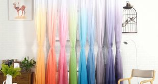 Sheer Curtain gradient sheer curtain tulle window treatment voile drape valance 1 panel  fabric MDHIMST