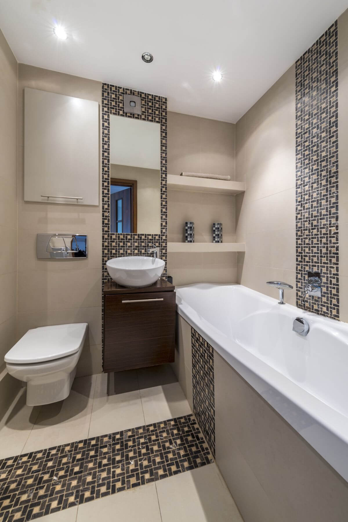 small bathroom design minimalist design with repeated tile patterns BFWSUAO