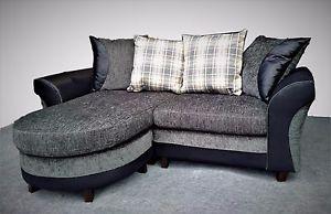 Small Corner Sofa image is loading new-3-seater-small-corner-sofa-grey-black- MJFYGFE