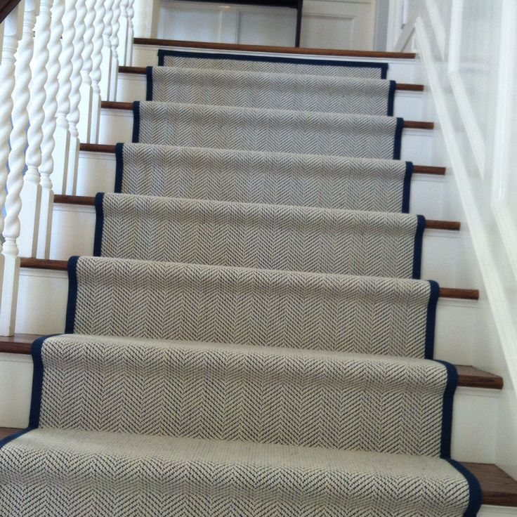 stair runners my new staircase runner. herringbone with a marine blue  binding. GZVNKZF