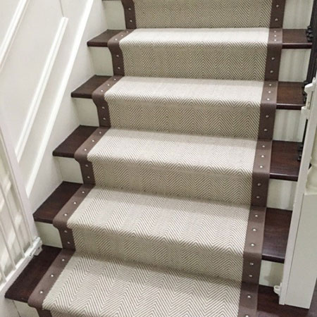 stair runners peter island with leather border and studs OMLWIBC