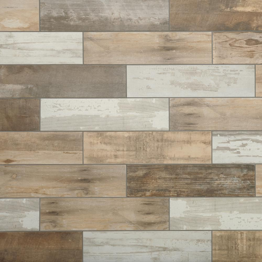 tile flooring marazzi montagna wood vintage chic 6 in. x 24 in. porcelain floor and XCTXTNM