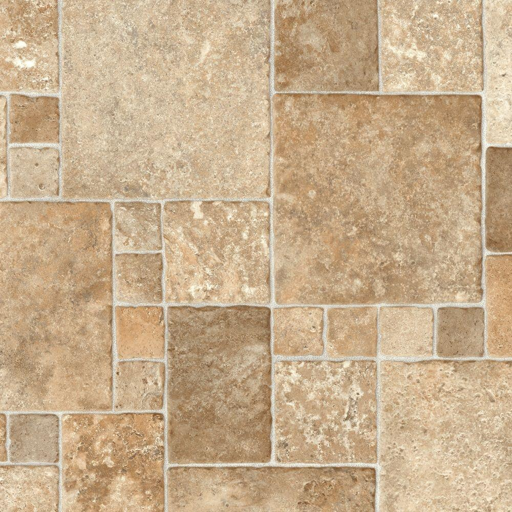 vinyl sheet flooring trafficmaster sandstone mosaic 12 ft. wide vinyl sheet CHOMRTA