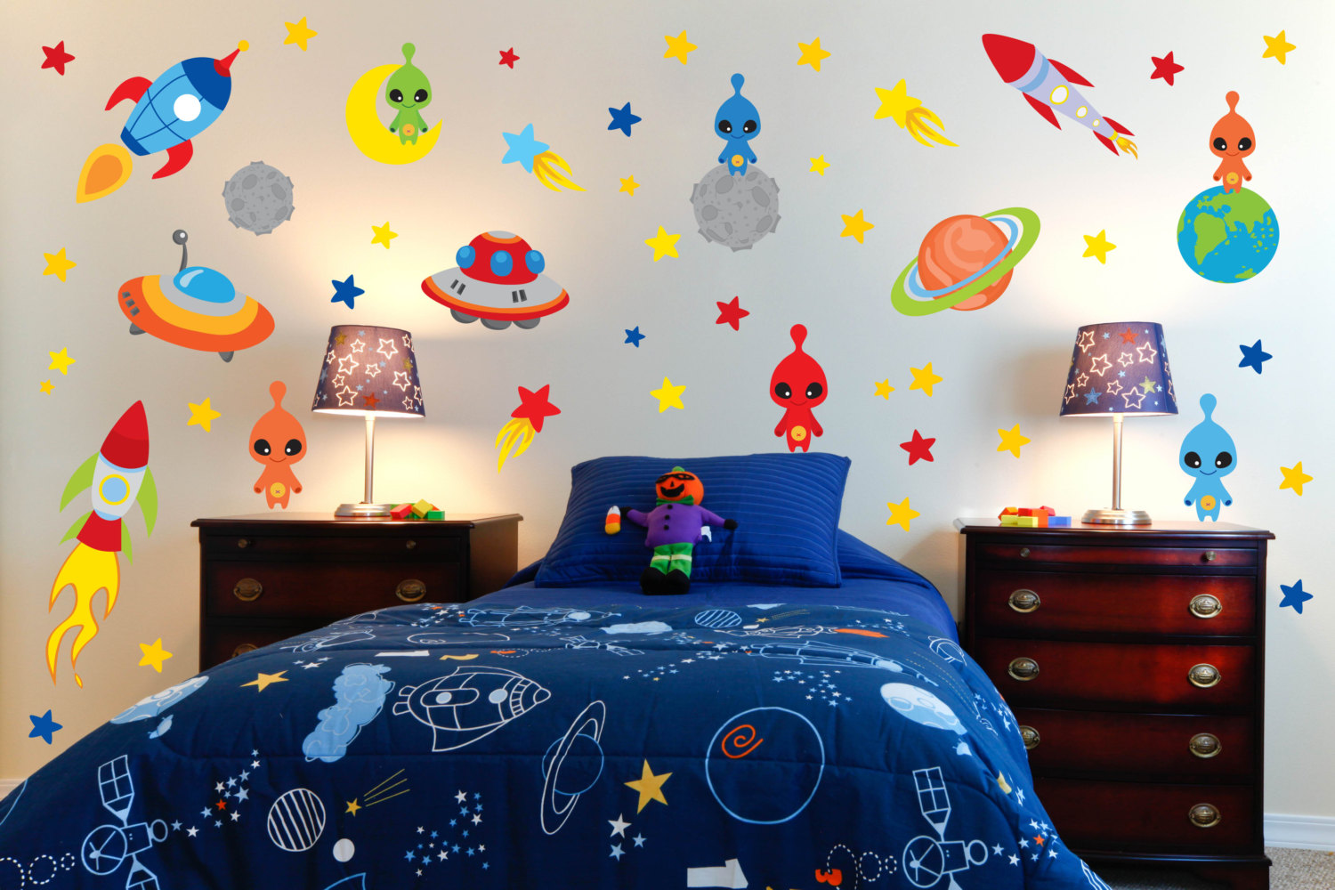 wall decoration theme new outer space decorations theme wall decals room alien ... XNJBJGE