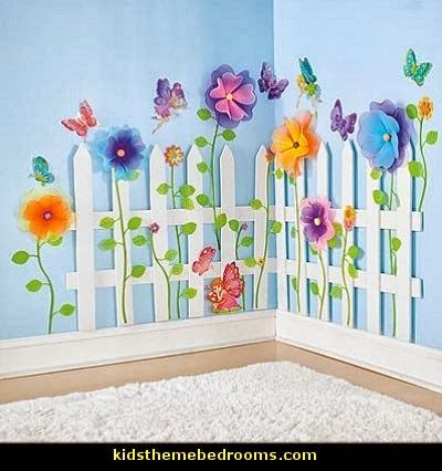 wall decoration theme picket fence wall decor | ... - decorating butterfly garden themed bedrooms UHQBPCT