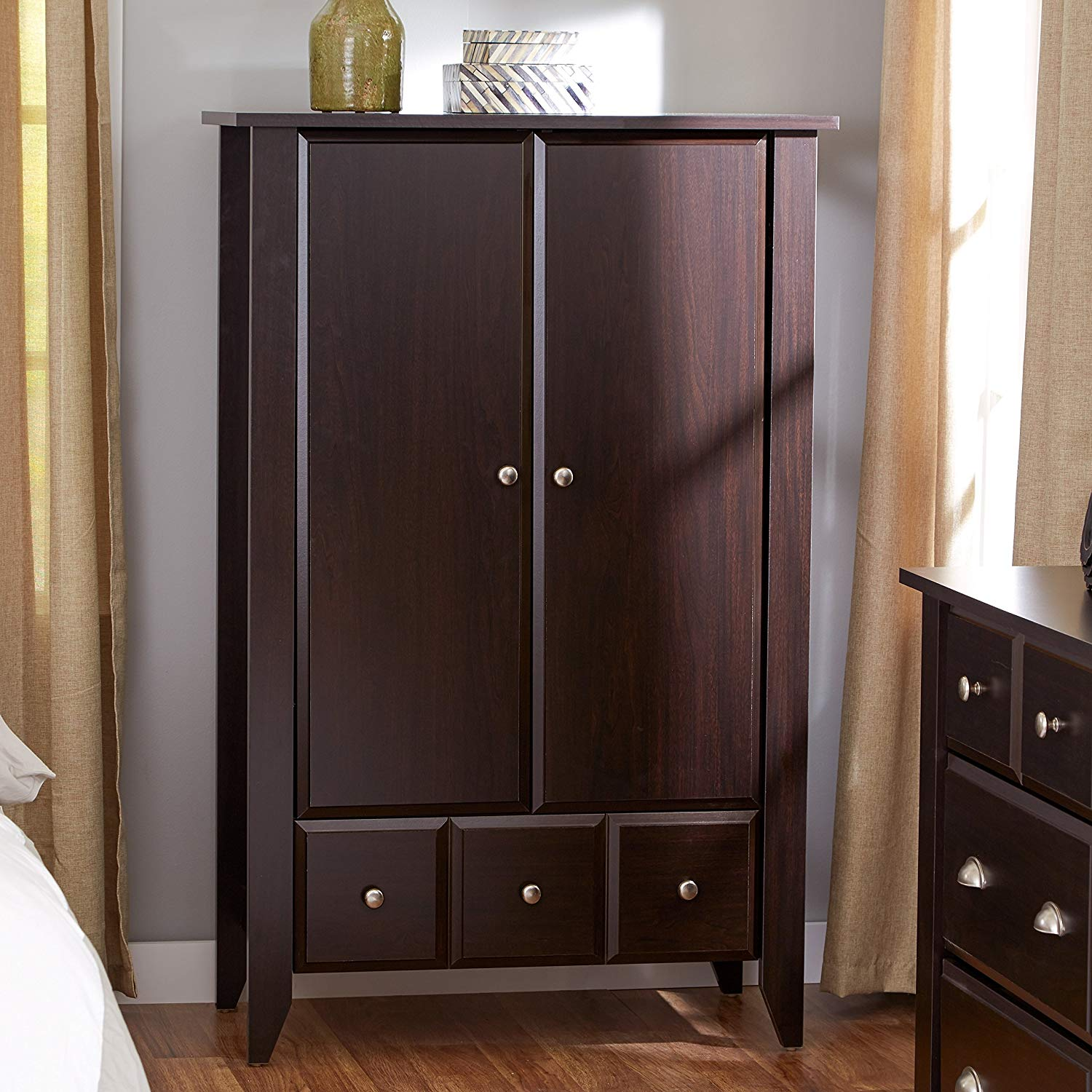 Wardrobe Closet amazon.com: wardrobe closet armoire - modern contemporary dresser cabinet  with drawers for LSJIKDR