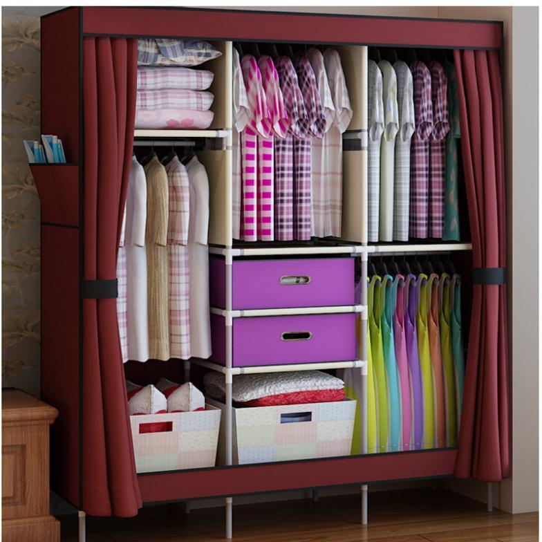 Wardrobe Closet triple portable clothes wardrobe closet cabinet garment rack with 2 free  storage MOGVXML