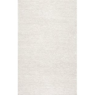 white rugs arviso hand-woven wool white area rug SGDYDOD