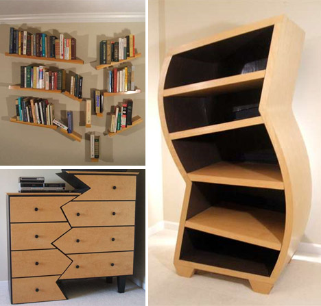 Wooden Bookcases unique-funny-funky-furniture-designs VWJNMNO