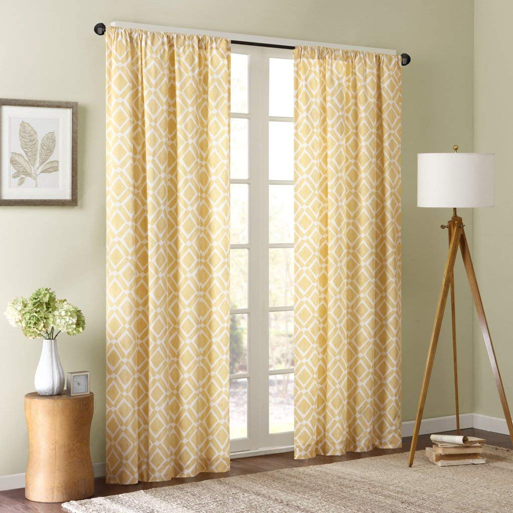 Yellow Curtains amazon.com: delray diamond window curtain yellow 84 OMLEYTU