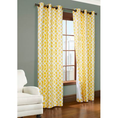 Yellow Curtains commonwealth home fashions trellis 63-inch room-darkening grommet window  curtain panels in yellow QTHJNMX