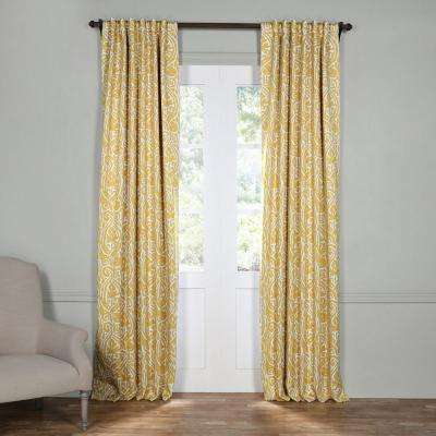 Yellow Curtains semi-opaque abstract misted yellow blackout curtain - 50 in. w x 96 in BSATLBE