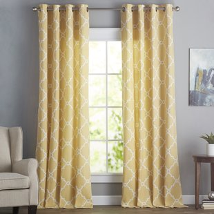 Yellow Curtains winnett geometric semi-sheer grommet single curtain panel PUIWCZB